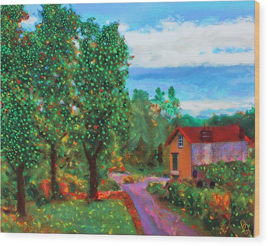 Wood Print featuring the painting Scene From Giverny by Deborah Boyd