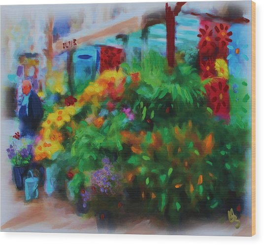 Wood Print featuring the painting Scene From La Rambla by Deborah Boyd