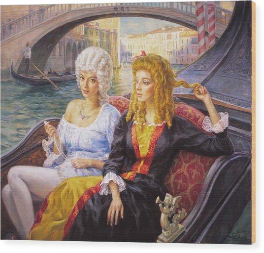 Scene In Gondola. Venice. Wood Print