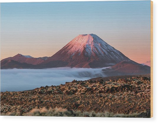Scenic Landscape With Ngauruhoe Volcano Wood Print by Matteo Colombo