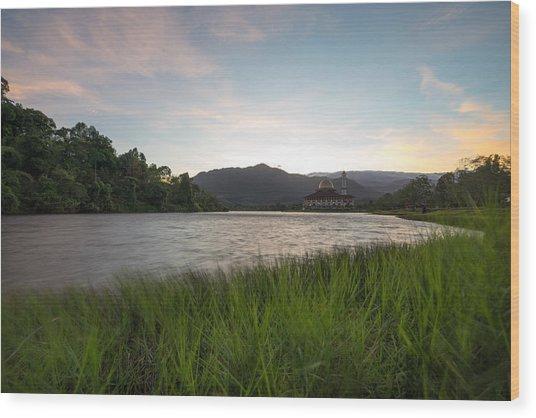 Scenic Shot Of Calm Lake Against Mountain Range Wood Print by Shaifulzamri Masri / EyeEm