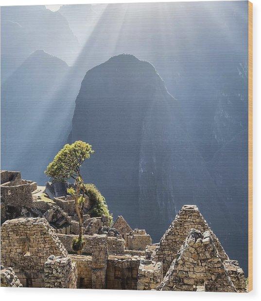 Scenic View Of Machu Picchu Wood Print by Diego Cambiaso / Eyeem