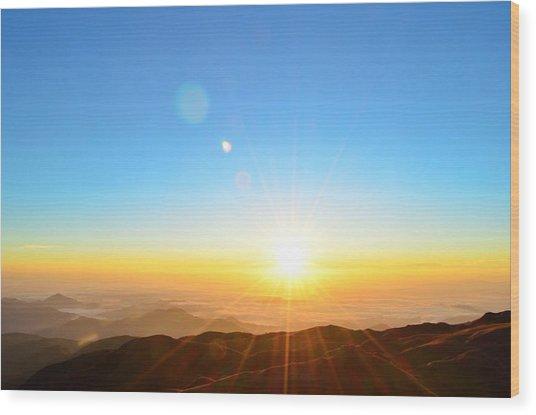 Scenic View Of Sunrise Wood Print by Arturo Rafael Enriquez / Eyeem