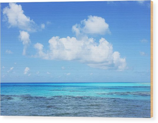 Scenic View Of Turquoise Sea Against Sky Wood Print by Fred Bahurlet / Eyeem
