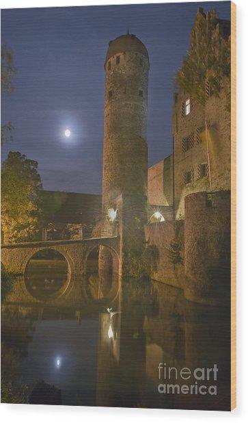 Schloss Sommersdorf By Moonlight Wood Print