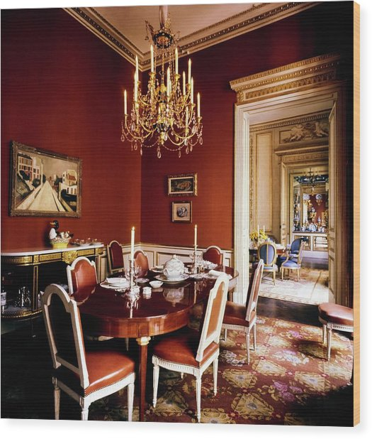 Schlumberger's Dining Room Wood Print by Horst P. Horst