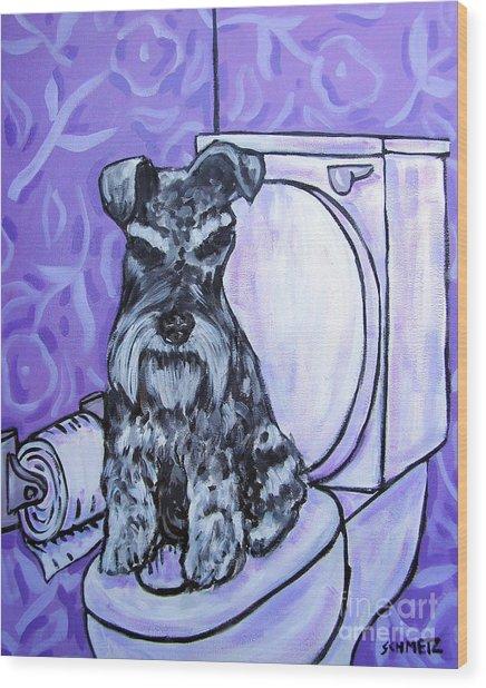 Schnauzer In The Bathroom Wood Print by Jay  Schmetz
