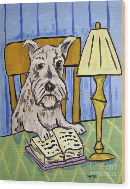 Schnauzer Reading A Book Wood Print by Jay  Schmetz