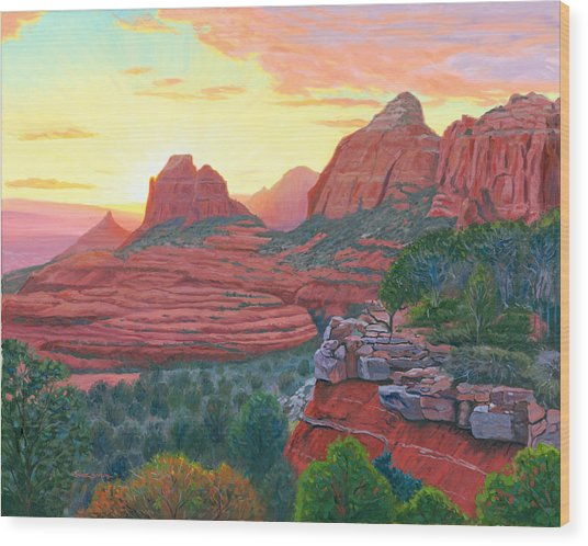 Schnebly Hill Sunset Wood Print