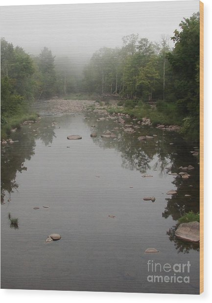 Schoharie Morning Fog Wood Print