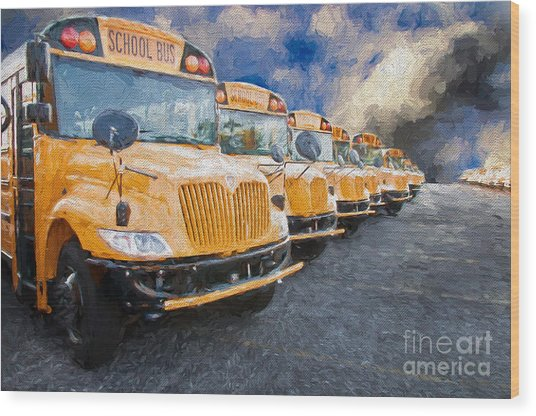 School Bus Lot Painterly Wood Print