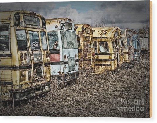 School Buses Wood Print