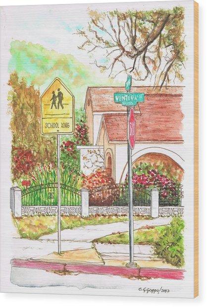 School Xing Sign In Santa Paula, California Wood Print