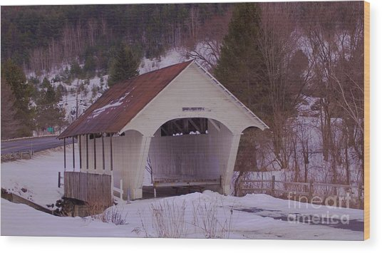 Schoolhouse Covered Bridge. Wood Print