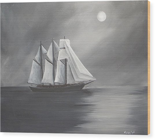 Schooner Moon Wood Print