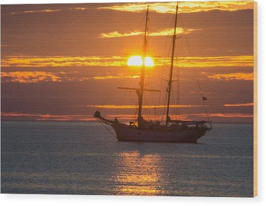 Schooner Sunset Wood Print