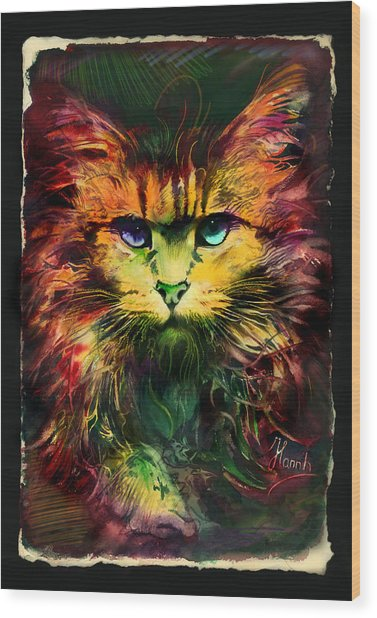 Schrodinger's Cat Wood Print