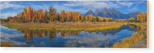 Schwabacher Autumn Reflections Panorama Wood Print