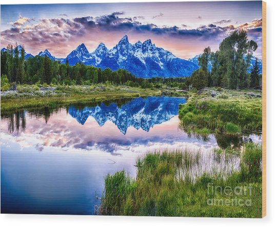 Blue Teton Wood Print
