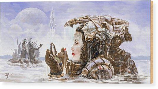 Sci Fi Girl Wood Print