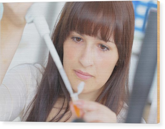 Science Student Using Pipette Wood Print by Wladimir Bulgar/science Photo Library