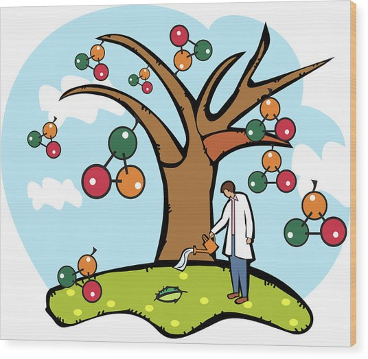 Scientist Watering An Atomic Structure Tree Wood Print by Fanatic Studio / Science Photo Library