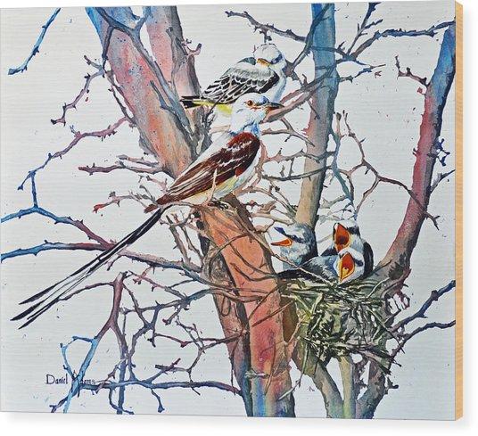 Da149 Scissortailed Flycatchers By Daniel Adams Wood Print