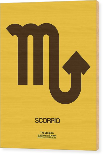 Scorpio Zodiac Sign Brown Wood Print