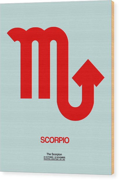 Scorpio Zodiac Sign Red Wood Print