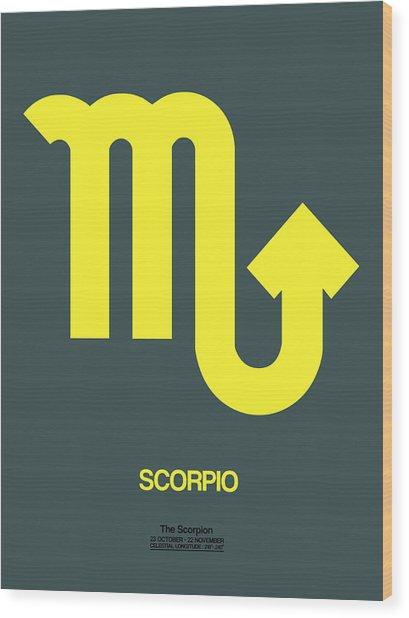Scorpio Zodiac Sign Yellow Wood Print