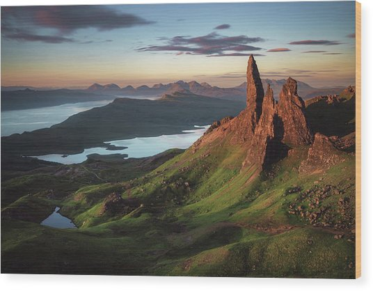 Scotland - Old Man Of Storr Wood Print by Jean Claude Castor