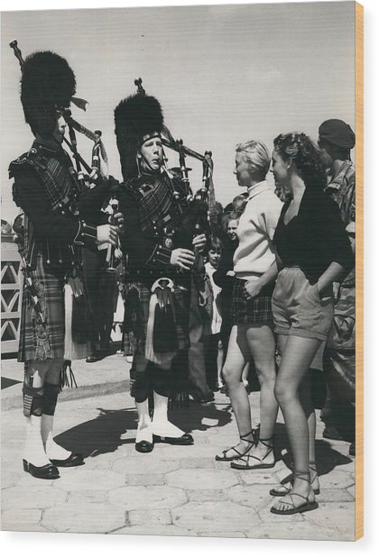 Scots Guards Entertained In Le Tourquet - And Do A Bit Of Wood Print by Retro Images Archive