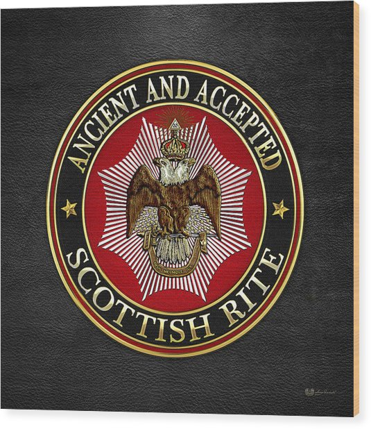 Scottish Rite Double-headed Eagle On Black Leather Wood Print
