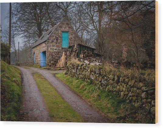 Scottish Stone Barn Wood Print