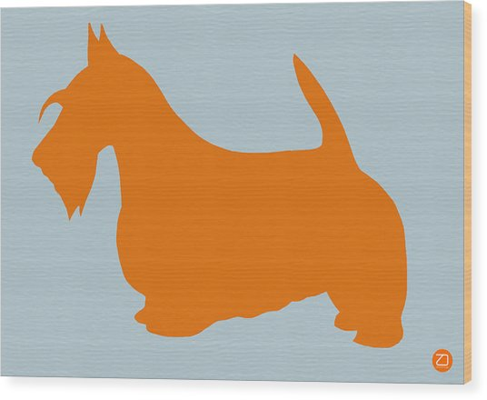 Scottish Terrier Orange Wood Print