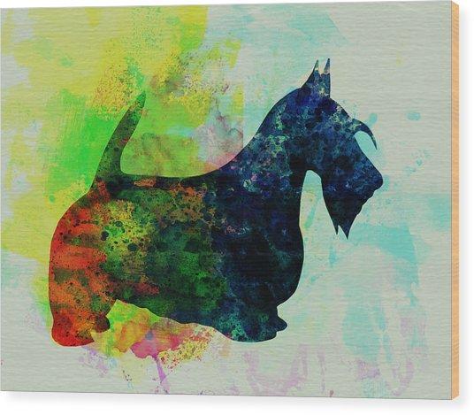 Scottish Terrier Watercolor Wood Print