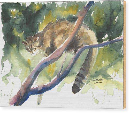 Scottish Wild Cat In A Tree Wood Print