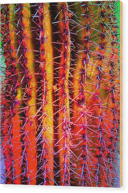 Wood Print featuring the mixed media Scottsdale Saguaro by Michelle Dallocchio