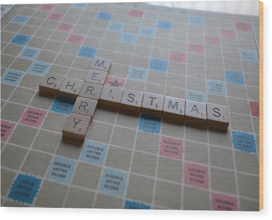 Scrabble Merry Christmas Wood Print