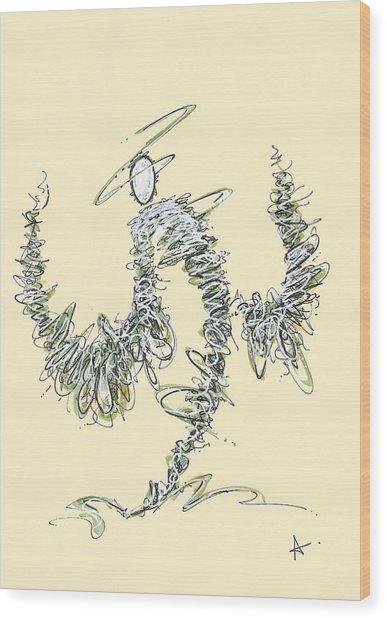Scribble Angel 3 Wood Print