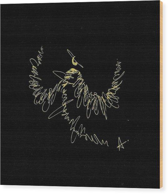 Scribble Angel Wood Print