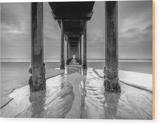 Scripps Pier Black And White Wood Print