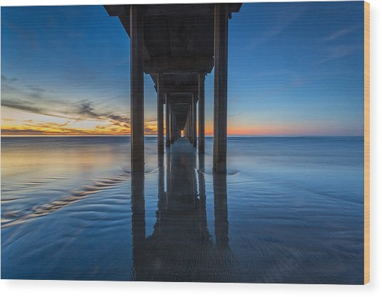Scripps Pier Blue Hour Wood Print