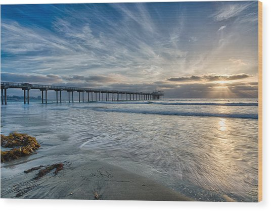 Scripps Pier Sky And Motion Wood Print