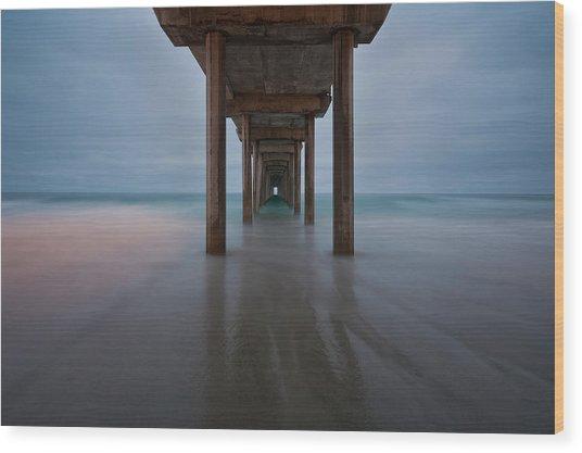 Scripps Pier Soft Blue Wood Print