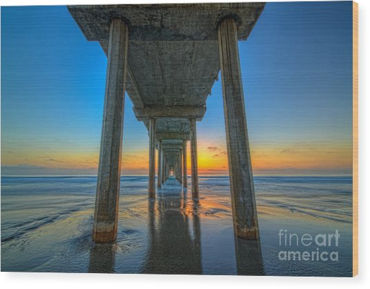 Scripps Pier Sunset Wood Print