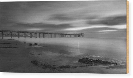 Scripps Pier Twilight - Black And White Wood Print