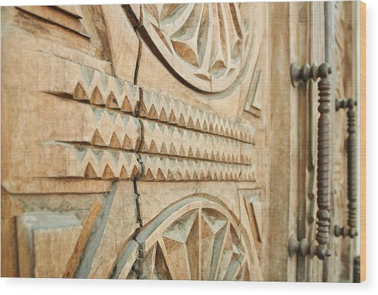 Sculpted Wooden Door Wood Print