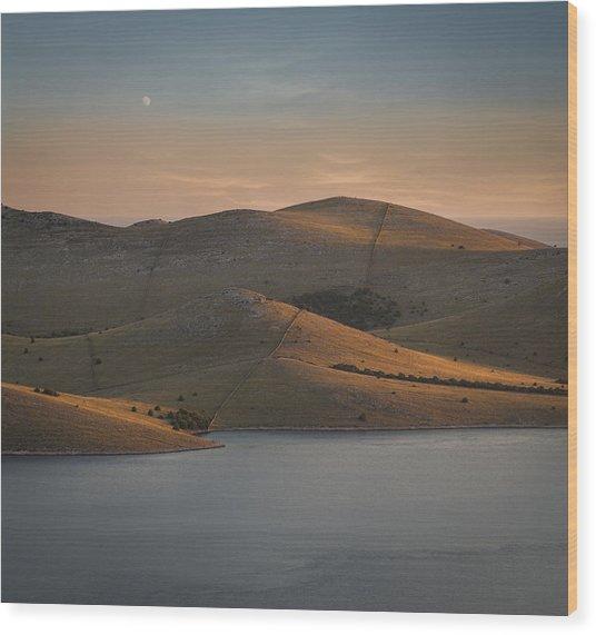 Sea And Island - I Wood Print by Akos Kozari