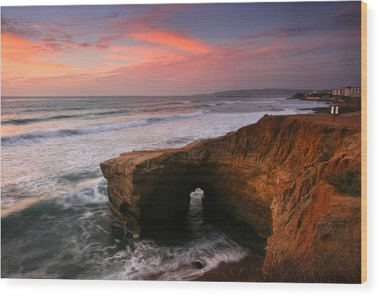 Sea Arch Winter Sunset Wood Print
